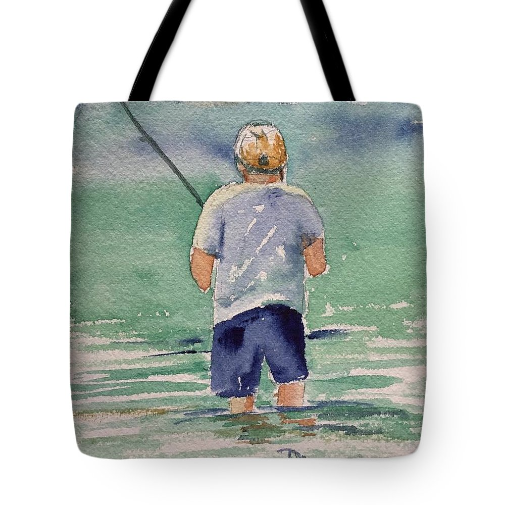 Fisherman Tote Bag featuring the painting Fishing by Diane Wallace