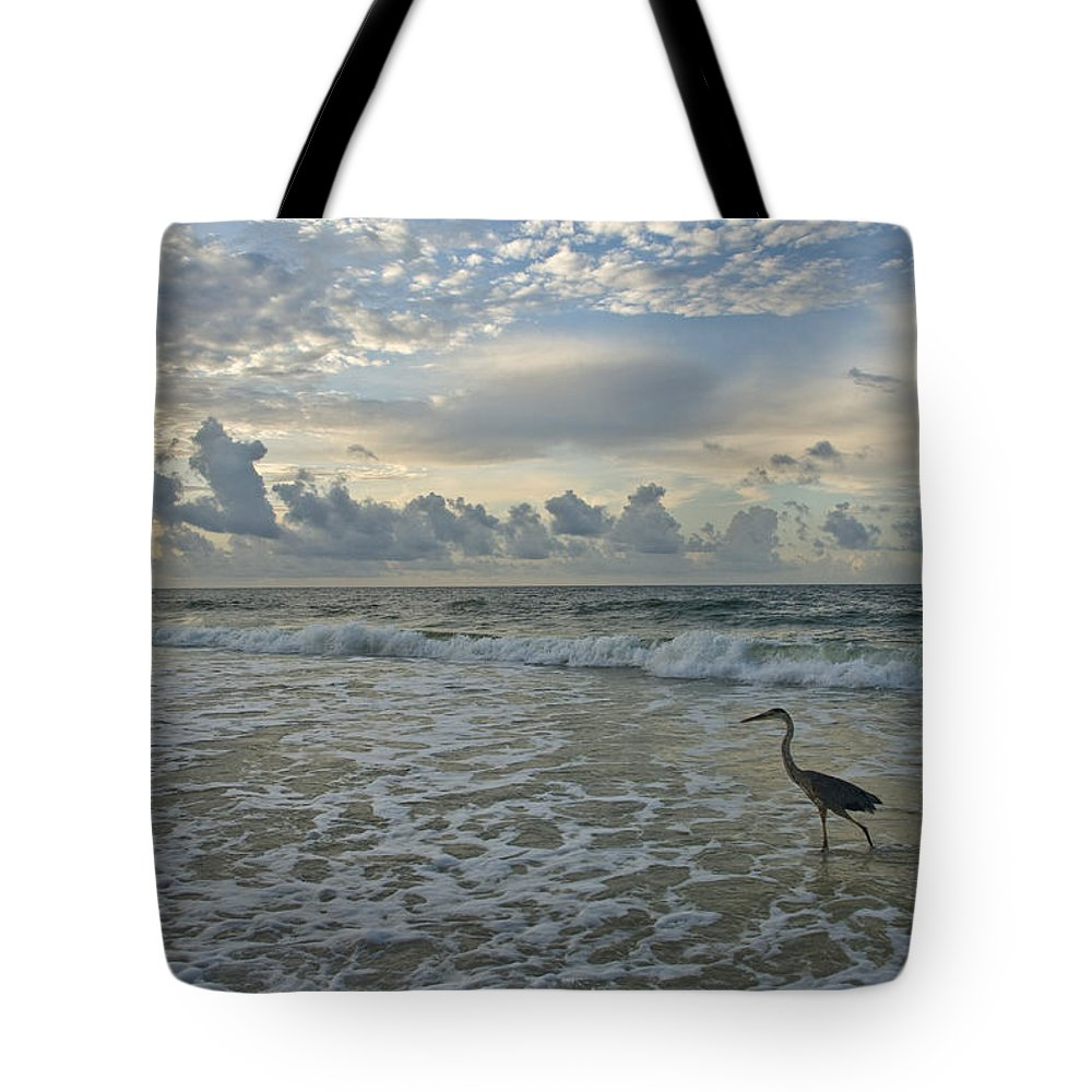 Blue Heron Tote Bag featuring the photograph Fishing In The Morning by Jennifer Kelly