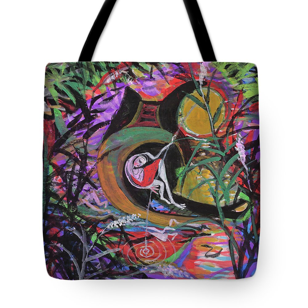 Fishing Tote Bag featuring the drawing Fishing In Wonderland by Chinaart Find