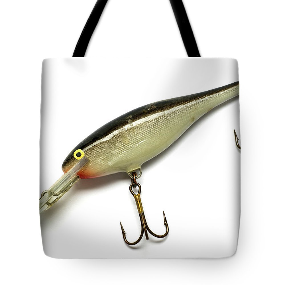 Fishing Tote Bag featuring the photograph Fishing Lure Isolated On White by Donald Erickson
