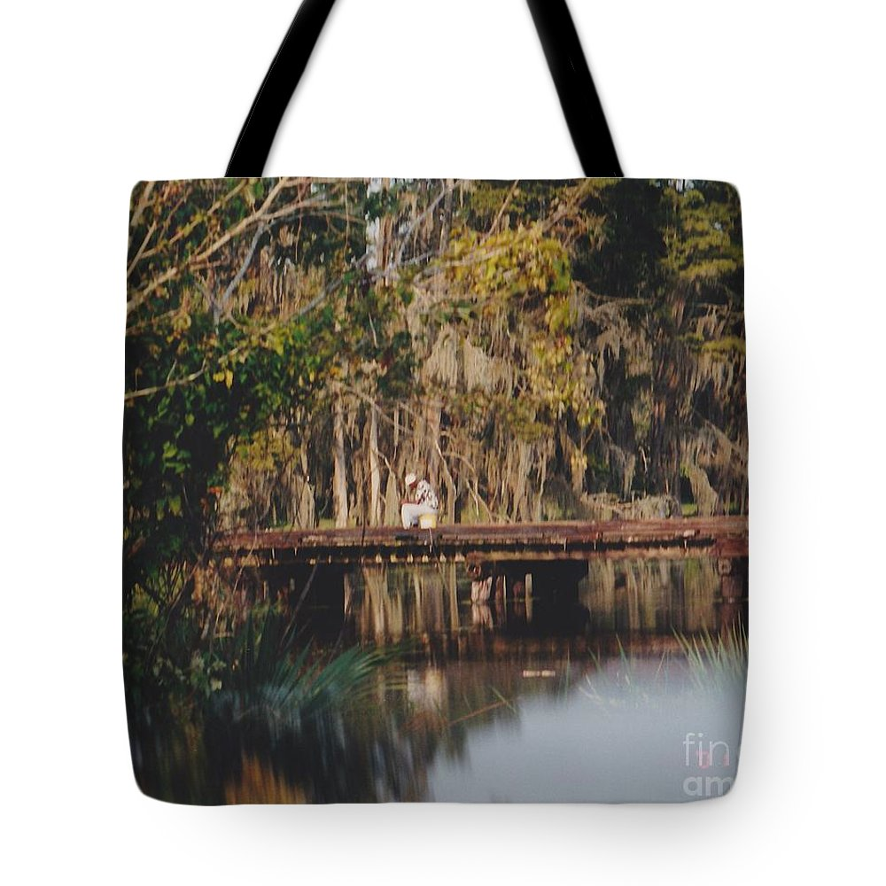 Landscape Tote Bag featuring the photograph Fishing On The Bridge by Michelle Powell