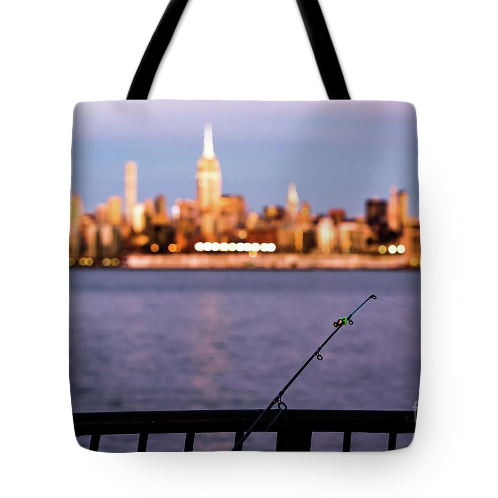 Nyc Tote Bag featuring the photograph Fishing On The Hudson by Zawhaus Photography
