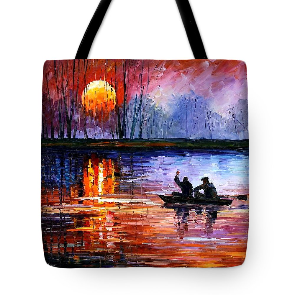Seascape Tote Bag featuring the painting Fishing On The Lake by Leonid Afremov