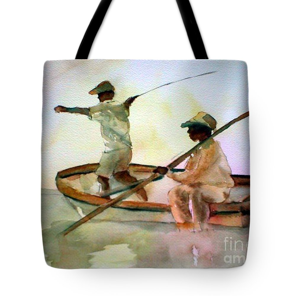 Fishing Tote Bag featuring the painting Fishing by Rhonda Hancock