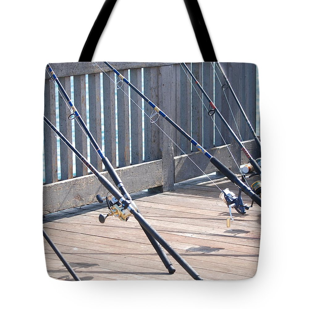 Pier Tote Bag featuring the photograph Fishing Rods by Rob Hans
