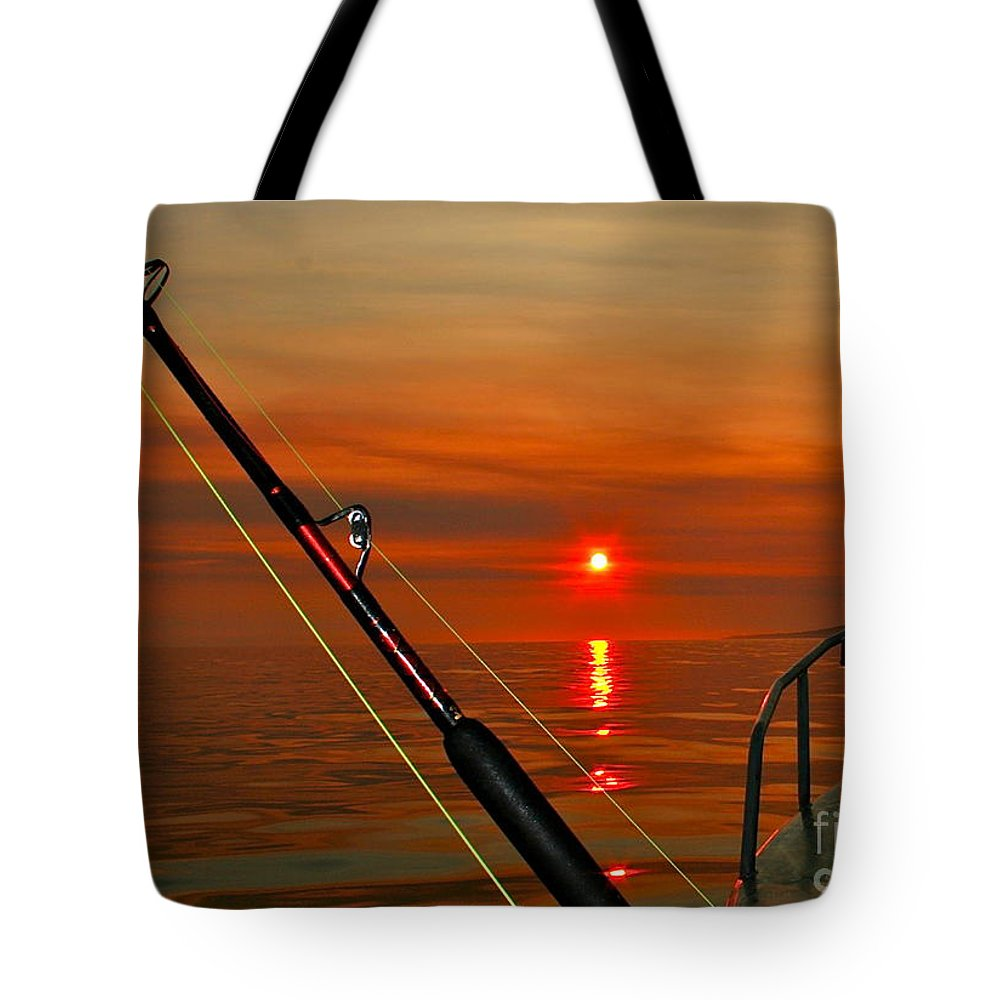 Sunset Tote Bag featuring the photograph Fishing The Midnight Sun by Rick Monyahan