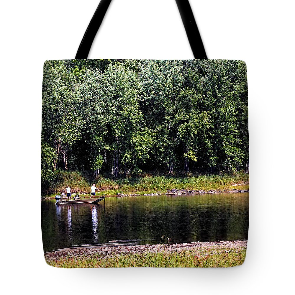 Fishing Tote Bag featuring the photograph Fishing The St Croix by Bill Morgenstern