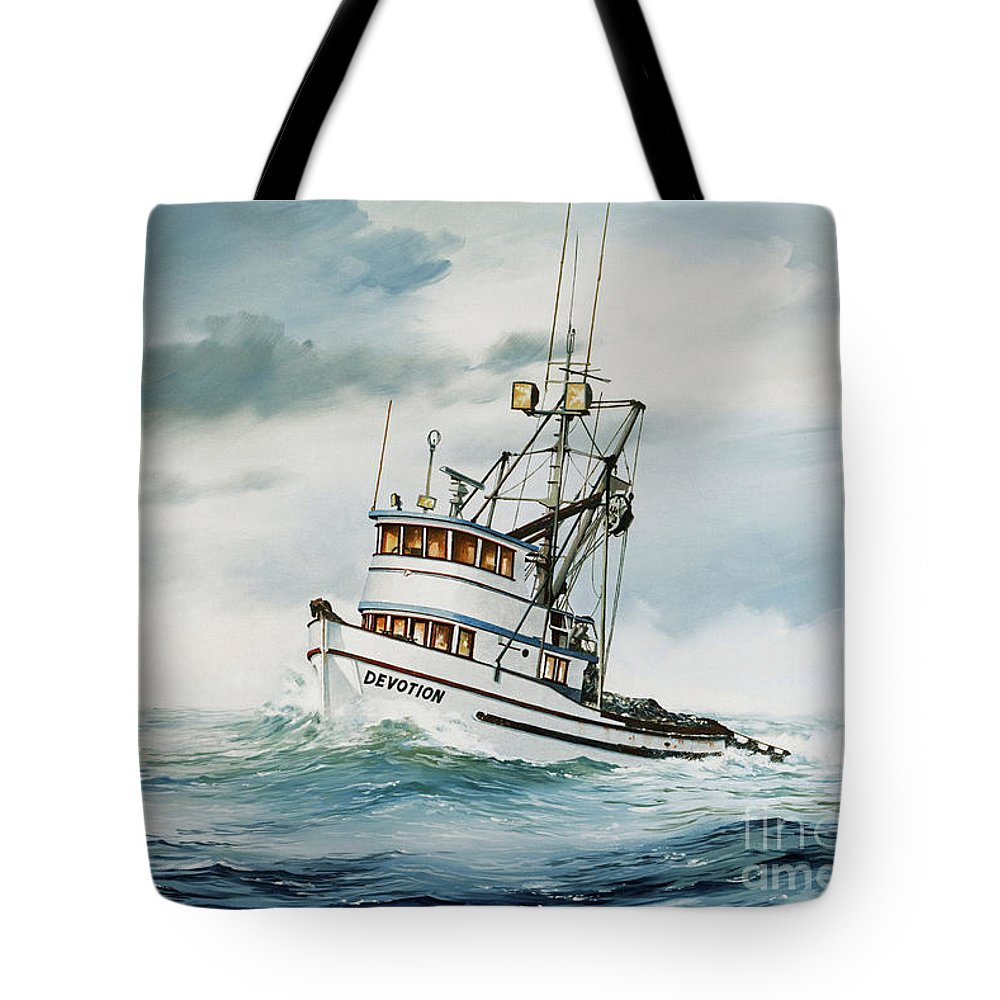 Fishing Vessel.fishing Vessel Fine Art Print Tote Bag featuring the painting Fishing Vessel Devotion by James Williamson
