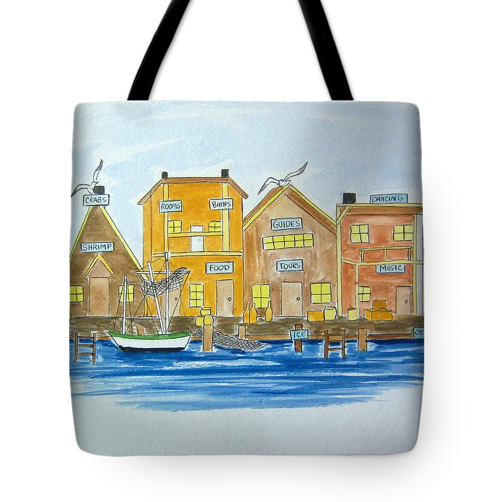 Fishing Tote Bag featuring the painting Fishing Village 2 by Nancy Nuce