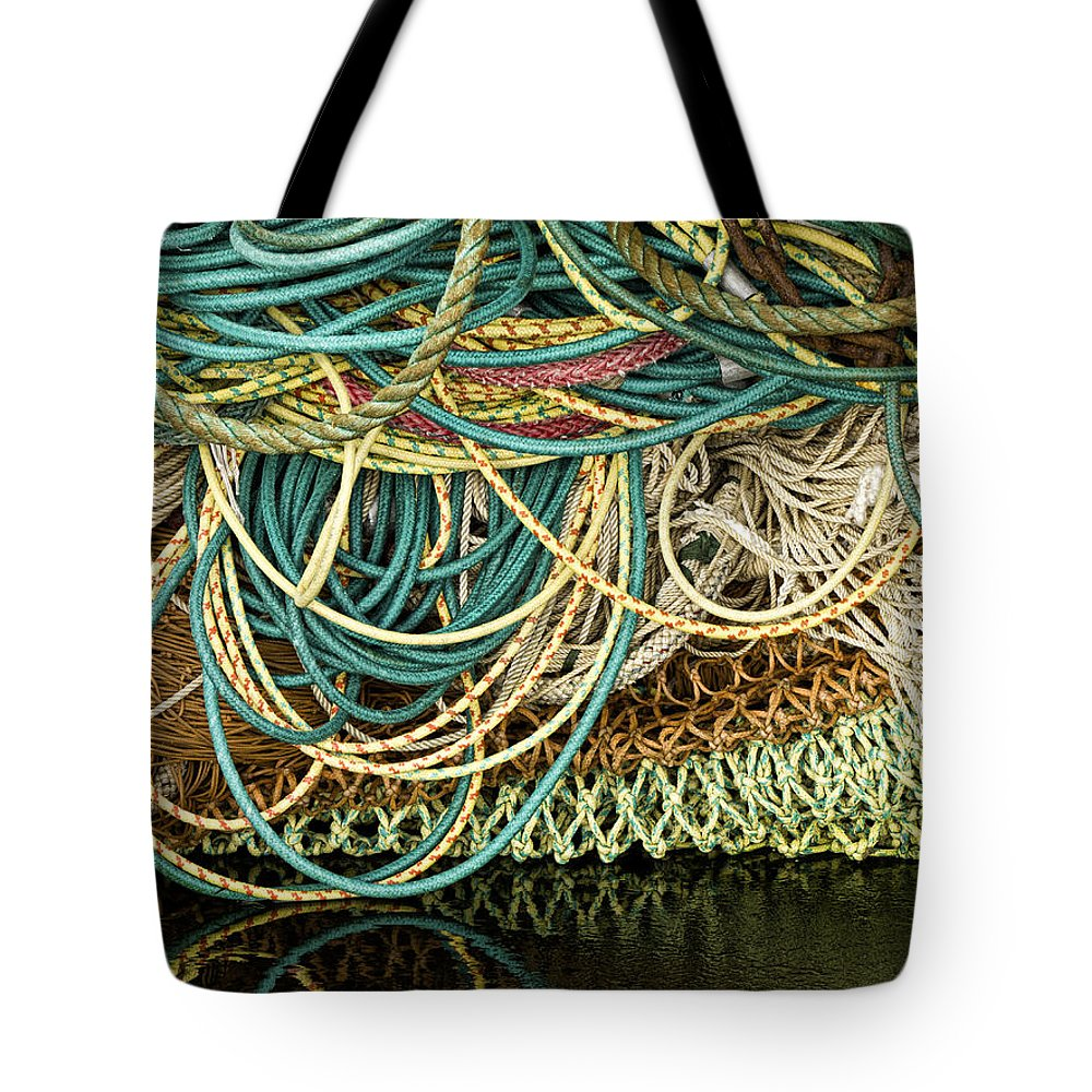 Fishing Tote Bag featuring the photograph Fishnets And Ropes by Carol Leigh