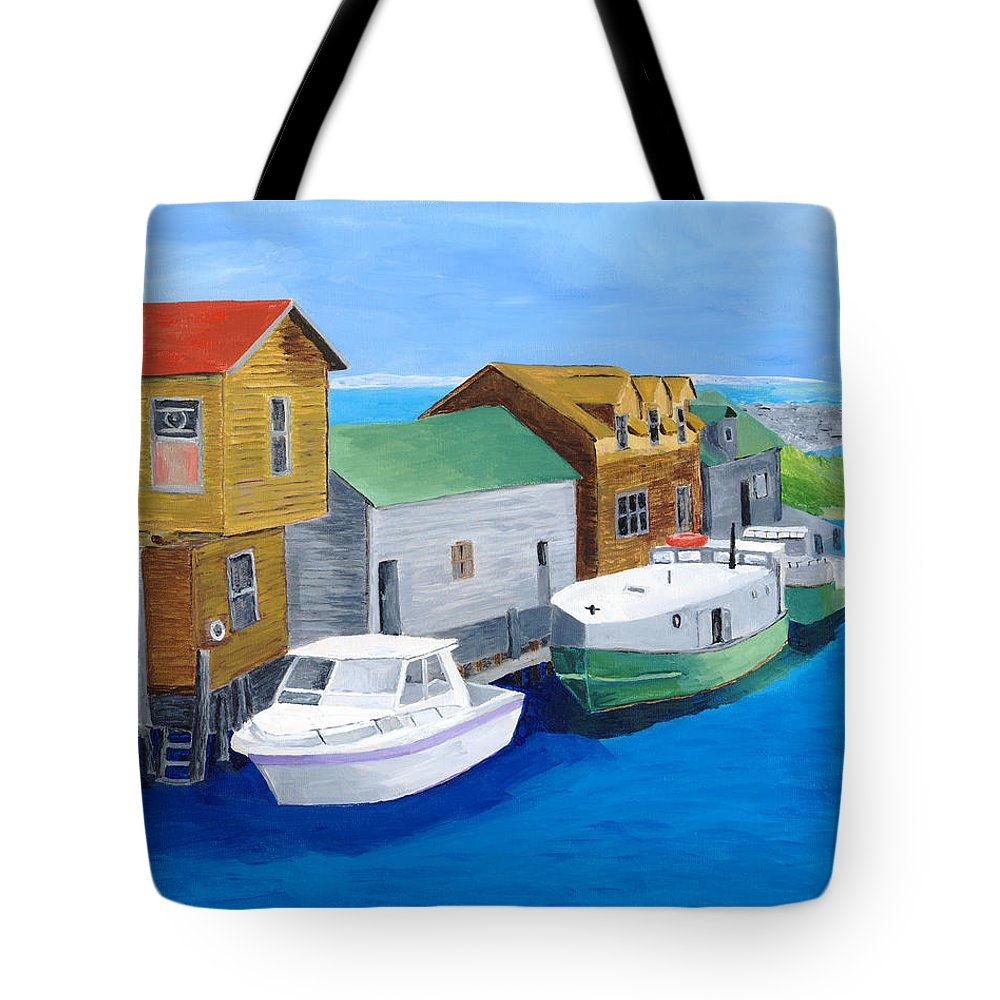Fishtown Tote Bag featuring the painting Fishtown by Rodney Campbell