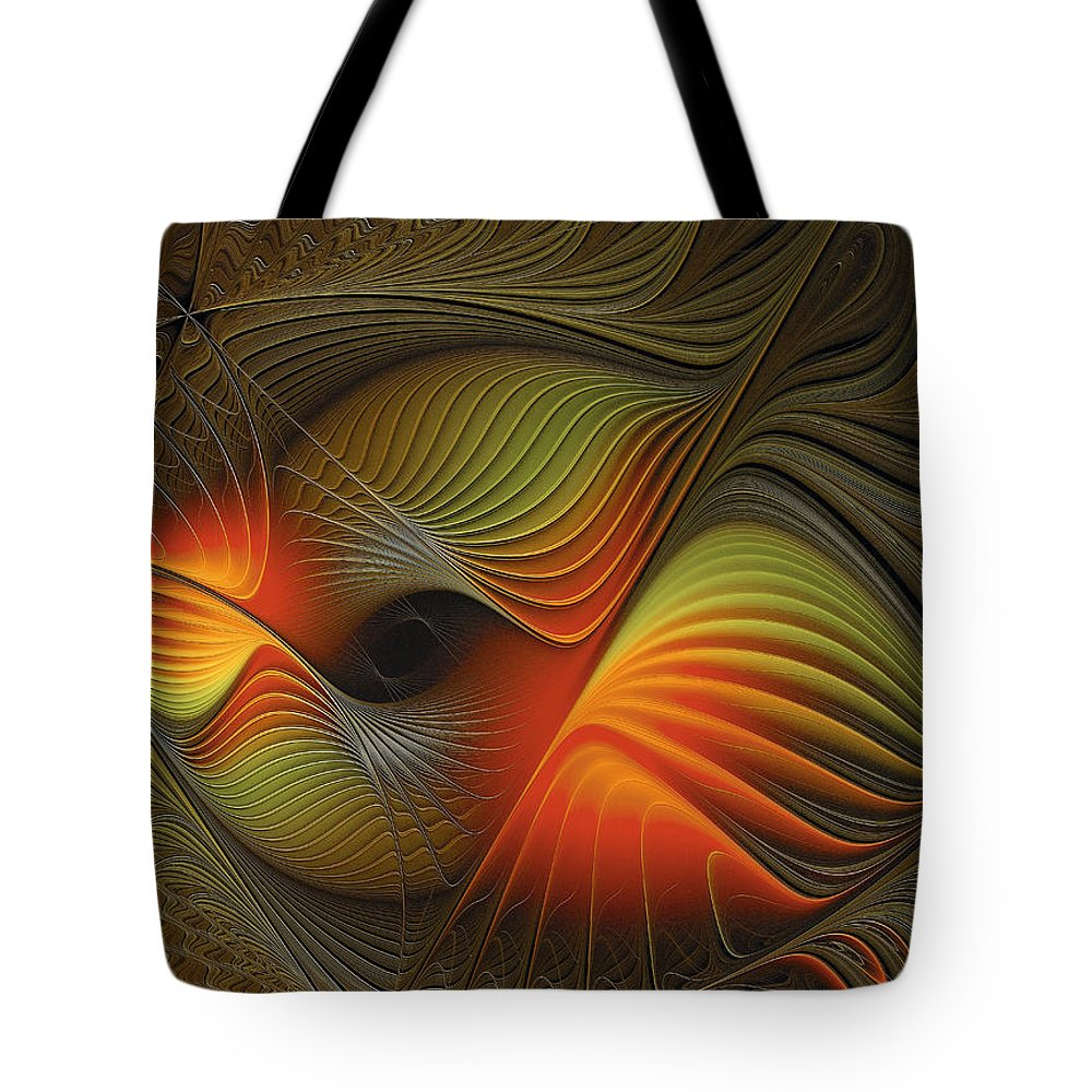 Abstract Tote Bag featuring the digital art Fishy Tales by Georgiana Romanovna