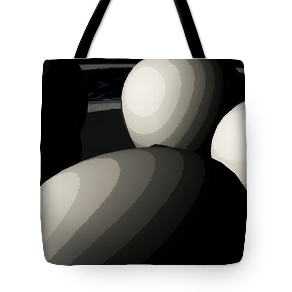 Eggs Tote Bag featuring the digital art Five Eggs by James Barnes