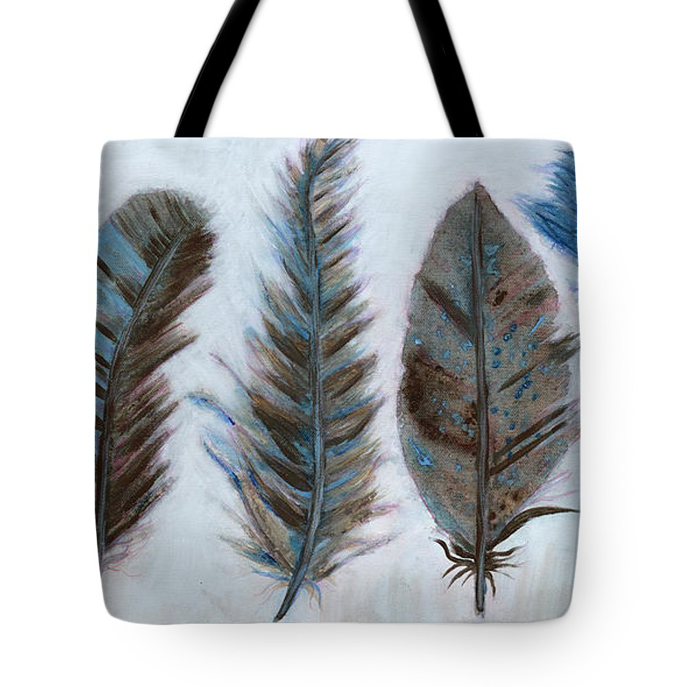 Blue And Brown Feathers Tote Bag featuring the painting Five Feathers by Koni Webb Bosch