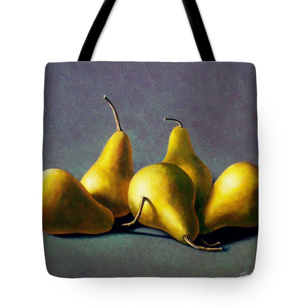 Still Life Tote Bag featuring the painting Five Golden Pears by Frank Wilson
