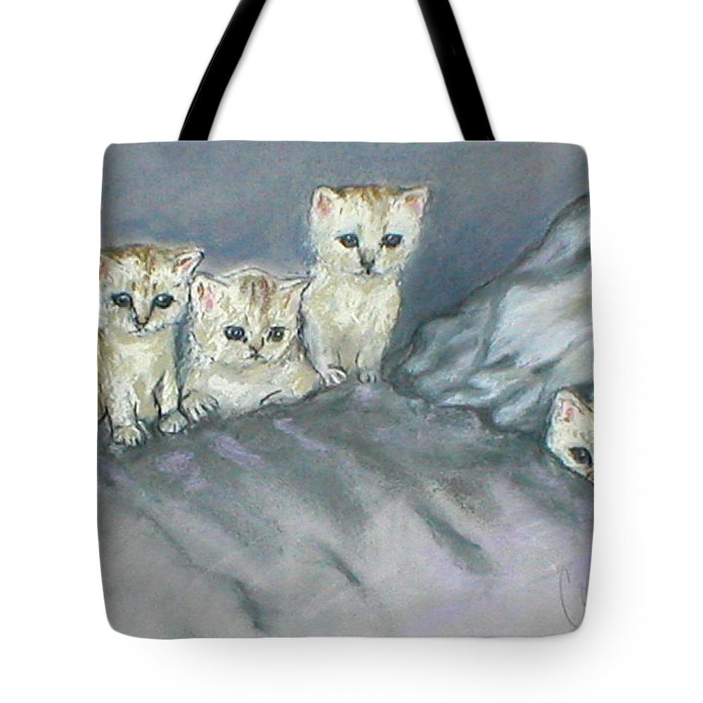 Cats Tote Bag featuring the drawing Five Kitties by Cori Solomon