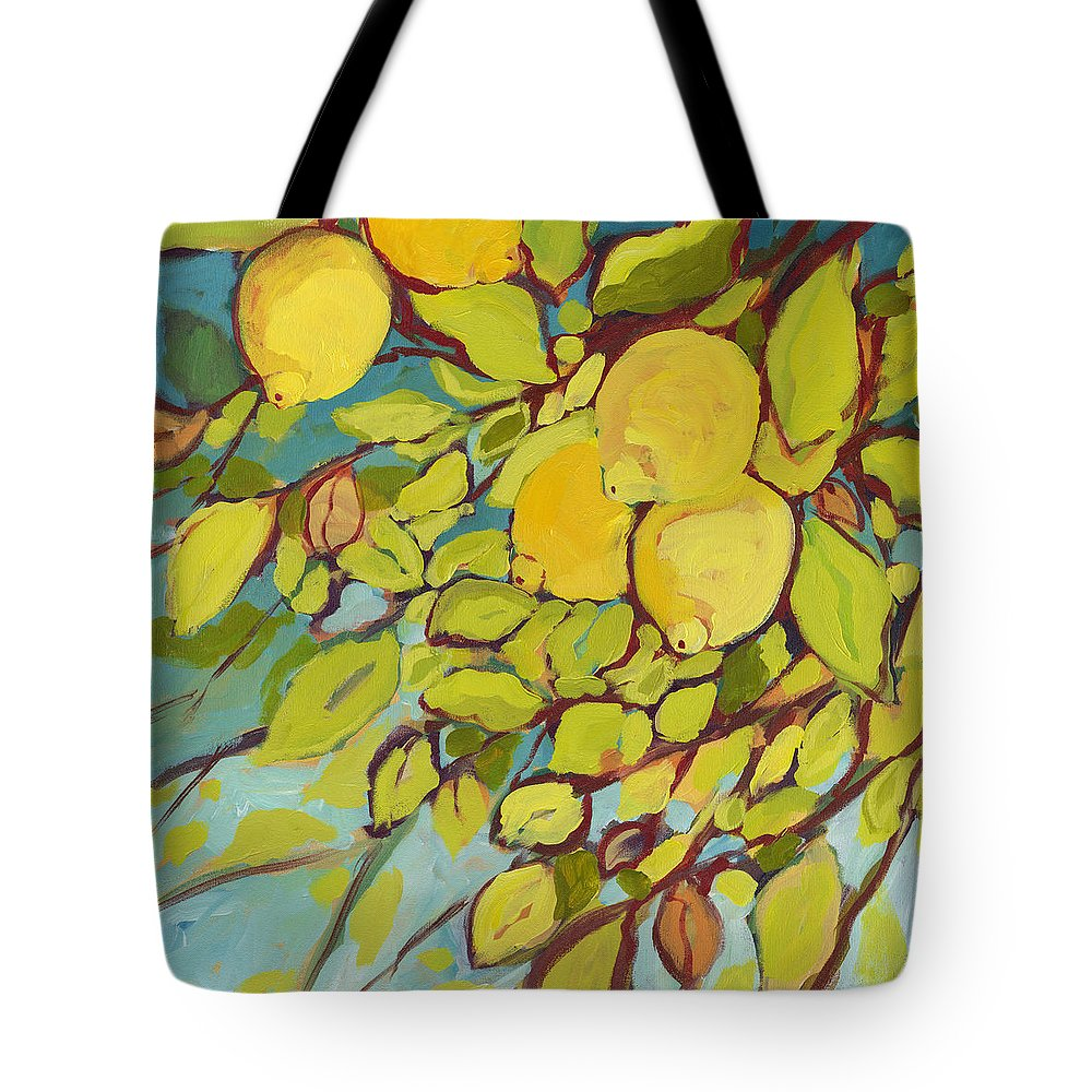Lemon Tote Bag featuring the painting Five Lemons by Jennifer Lommers