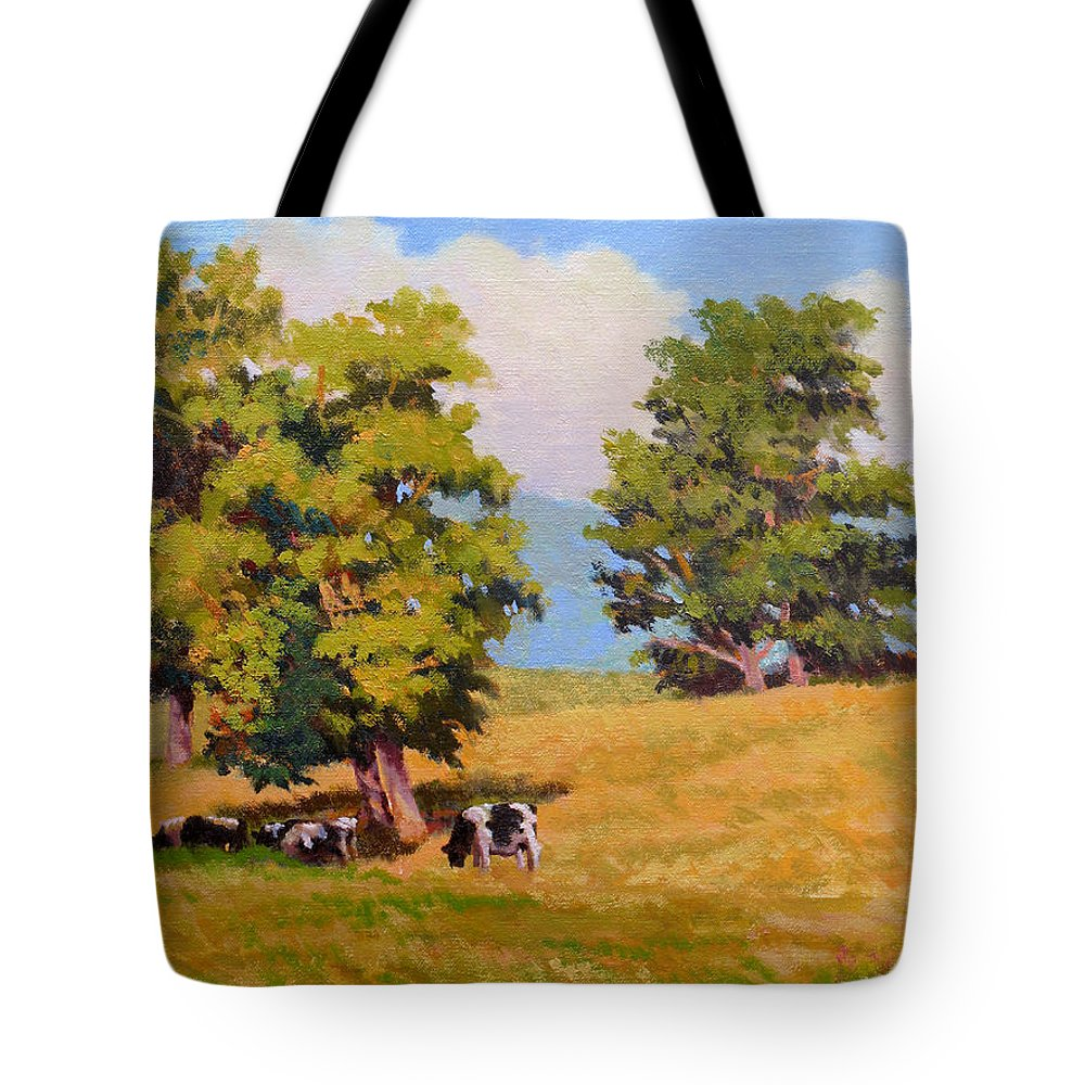 Landscape Tote Bag featuring the painting Five Oaks by Keith Burgess