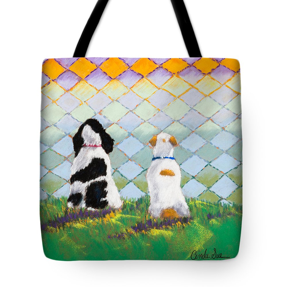 Dogs Tote Bag featuring the painting Five O'clock by Cinda Sue Dow