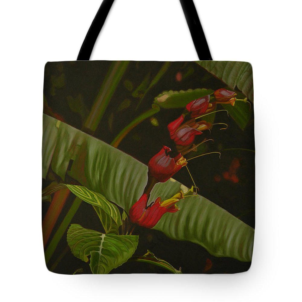 Floral Tote Bag featuring the painting Five Red by Thu Nguyen