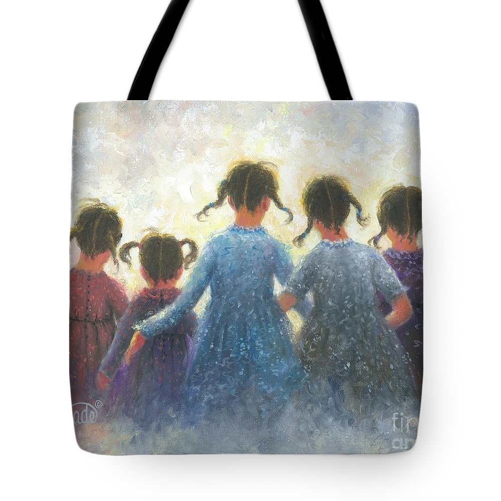 Five Sisters Tote Bag featuring the painting Five Sisters Pigtails by Vickie Wade