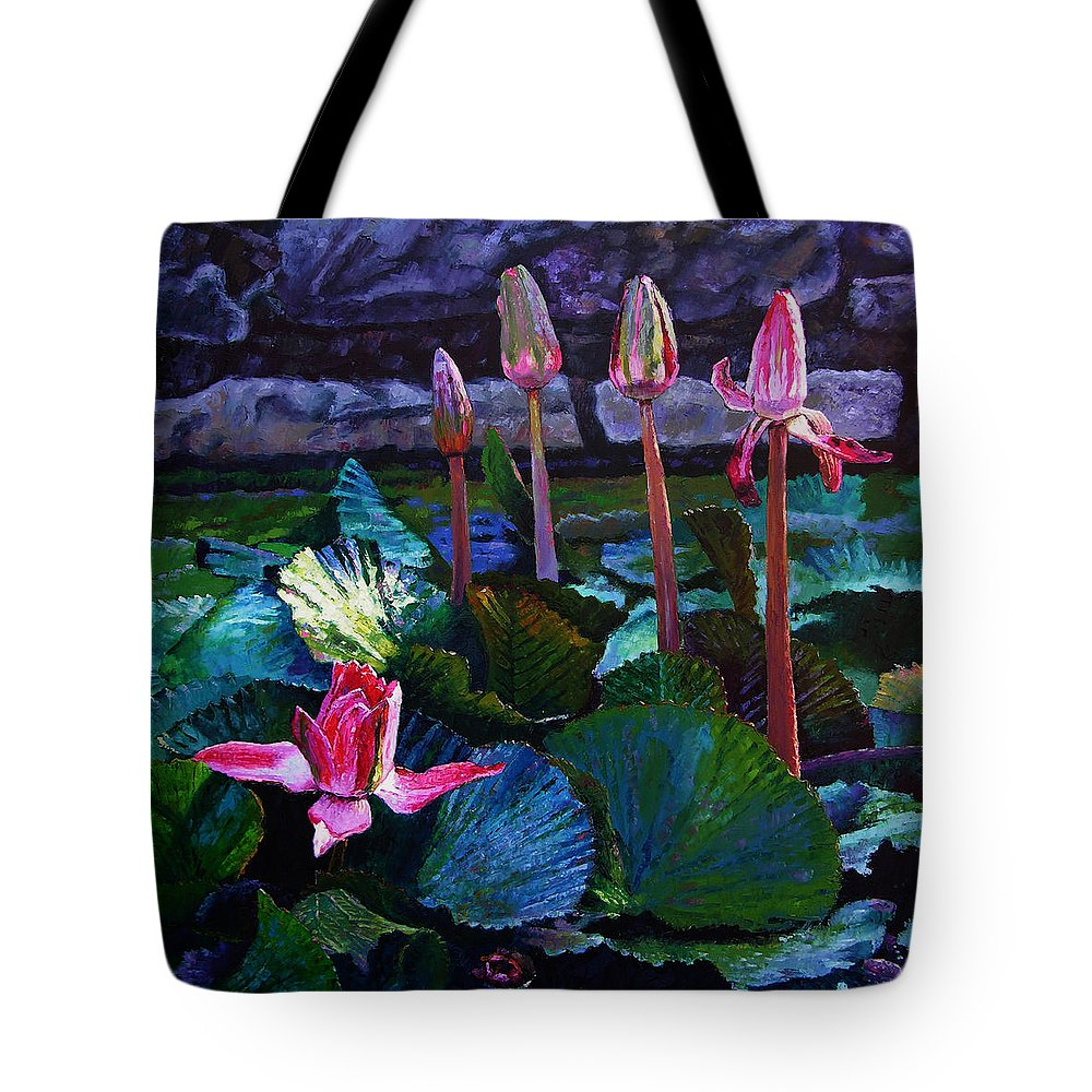Water Lilies Tote Bag featuring the painting Five Stages To Beauty by John Lautermilch