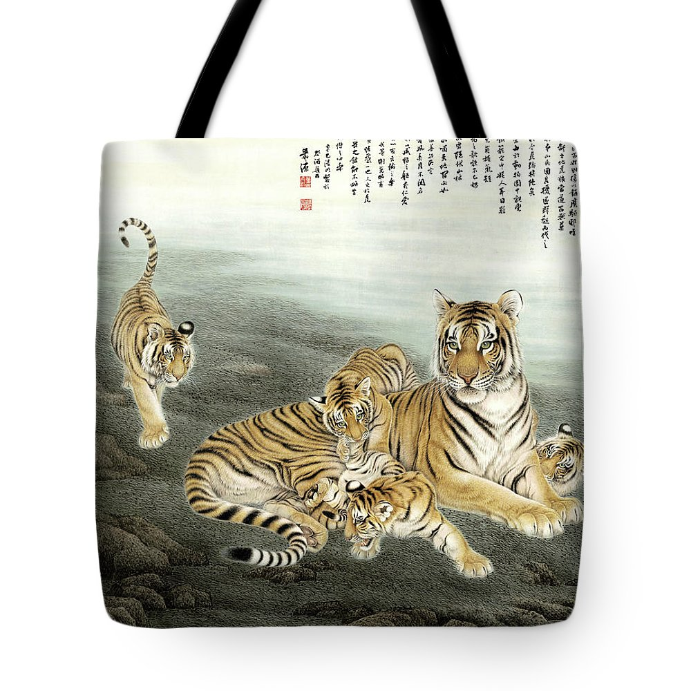 Five Tigers Tote Bag featuring the painting Five Tigers by Dong Xiyuan