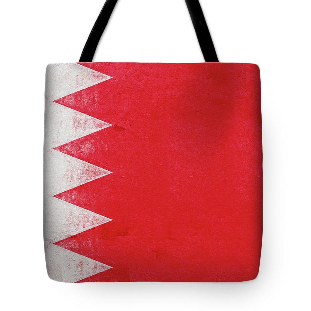 Arab Tote Bag featuring the digital art Flag Of Bahrain Grunge by Roy Pedersen
