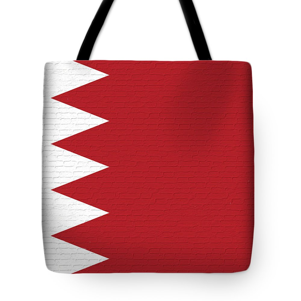 Flag Of Bahrain Tote Bag featuring the digital art Flag Of Bahrain Wall. by Roy Pedersen
