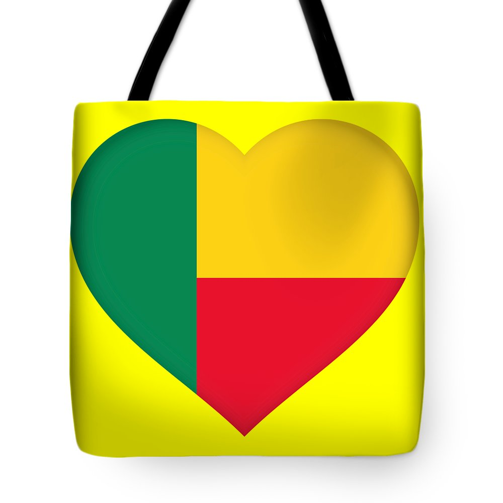 Africa Tote Bag featuring the digital art Flag Of Benin Heart by Roy Pedersen