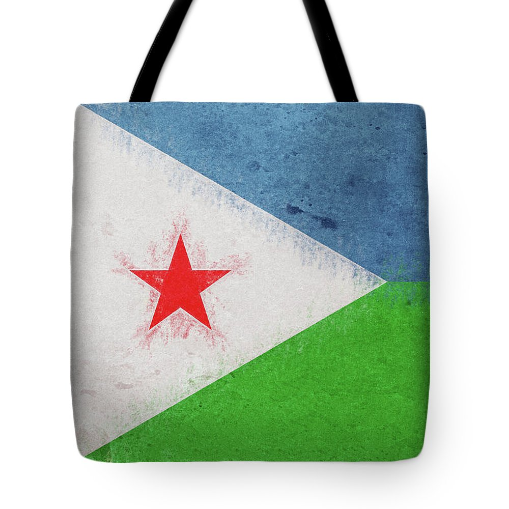 Africa Tote Bag featuring the digital art Flag Of Djibouti Grunge by Roy Pedersen