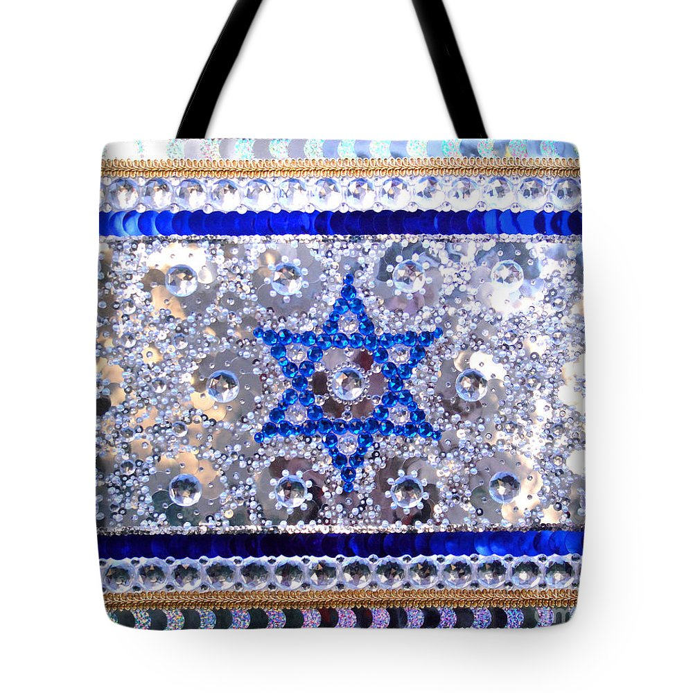 3191fc9610 Bead Tote Bag featuring the painting Flag Of Israel. Bead Embroidery With  Crystals by Sofia