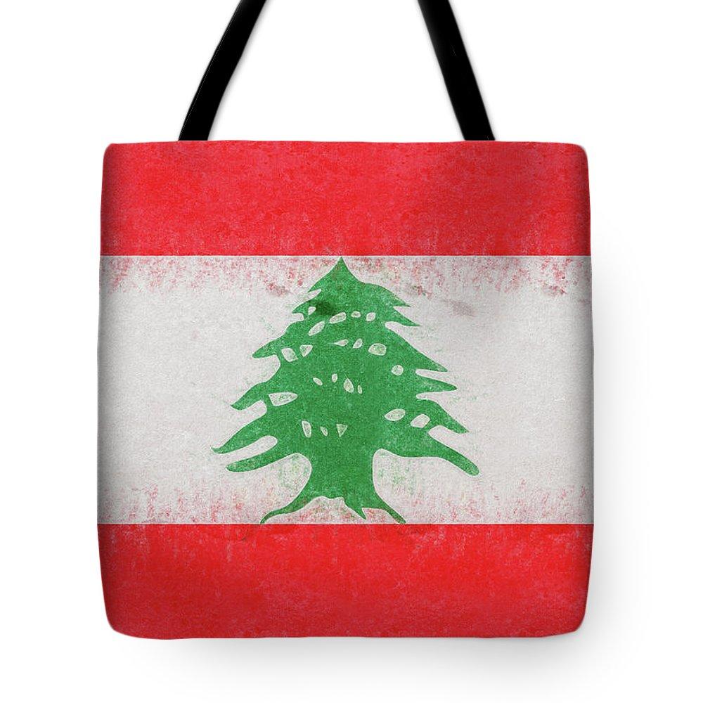 Arab Tote Bag featuring the digital art Flag Of Lebanon Grunge by Roy Pedersen