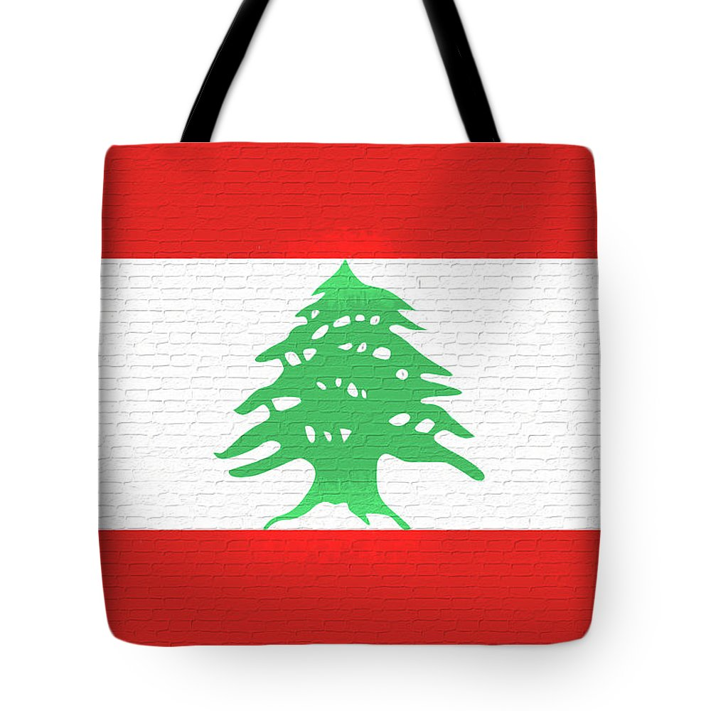 Arab Tote Bag featuring the digital art Flag Of Lebanon Wall by Roy Pedersen