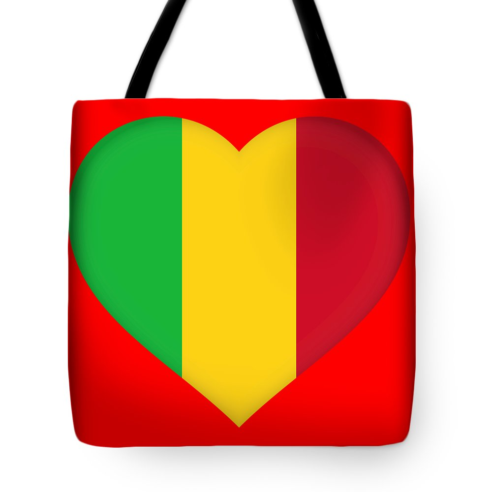 Africa Tote Bag featuring the digital art Flag Of Mali Heart by Roy Pedersen