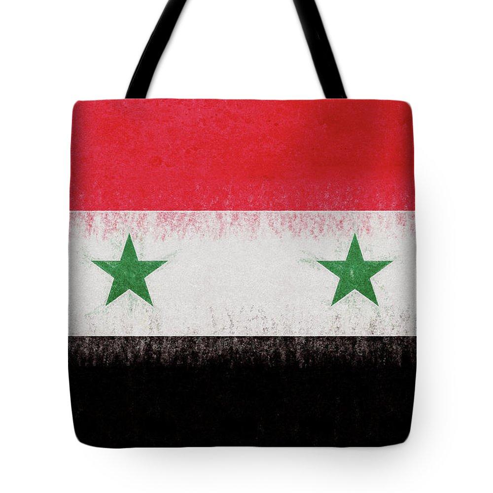 Arab Tote Bag featuring the digital art Flag Of Syria Grunge. by Roy Pedersen
