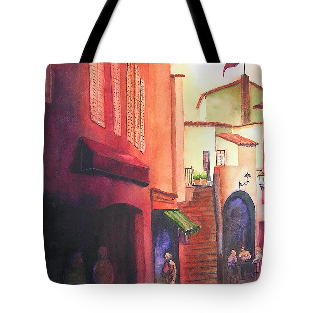 Europe Tote Bag featuring the painting Flag Over St. Tropez by Karen Stark