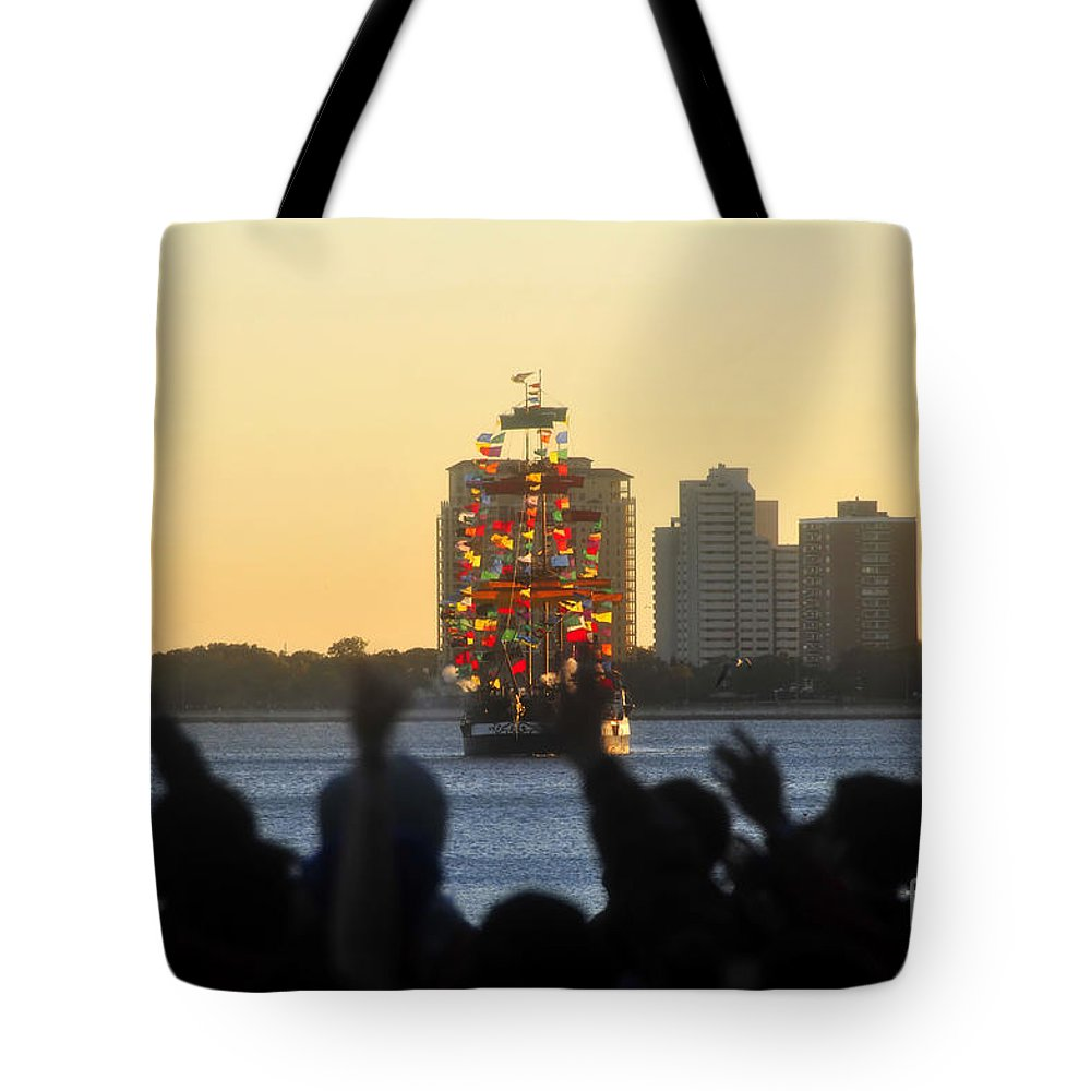 Gasparilla Pirate Festival Tampa Bay Florida Tote Bag featuring the photograph Flag Ship by David Lee Thompson