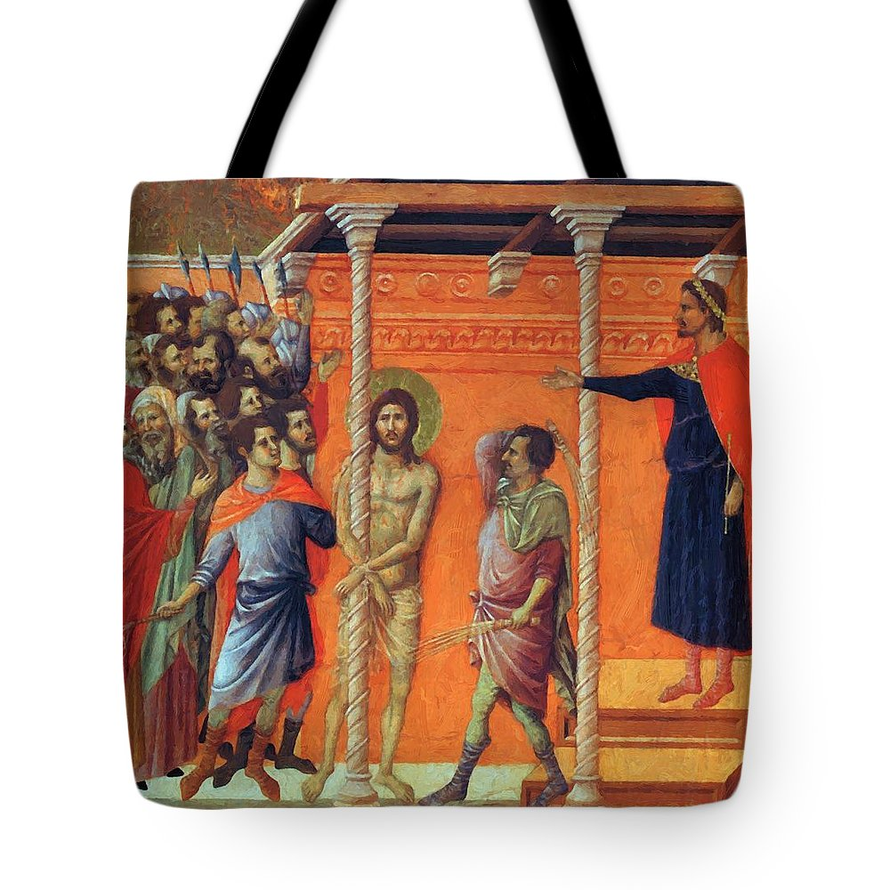 Flagellation Tote Bag featuring the painting Flagellation Of Christ 1311 by Duccio