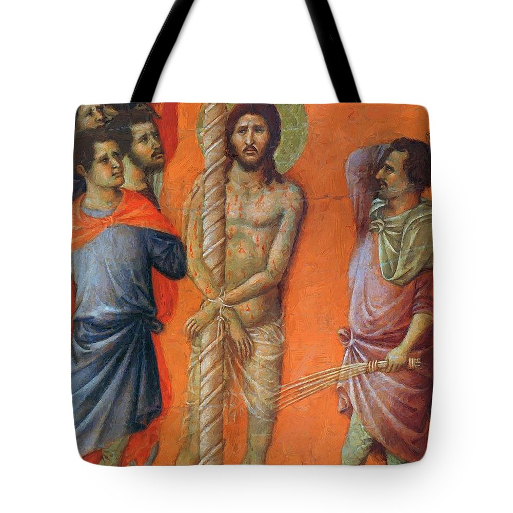 Flagellation Tote Bag featuring the painting Flagellation Of Christ Fragment 1311 by Duccio