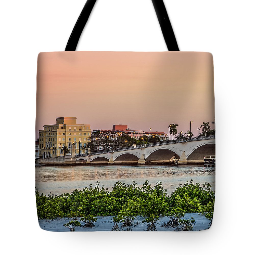 Boats Tote Bag featuring the photograph Flagler Bridge In The Evening I by Debra and Dave Vanderlaan