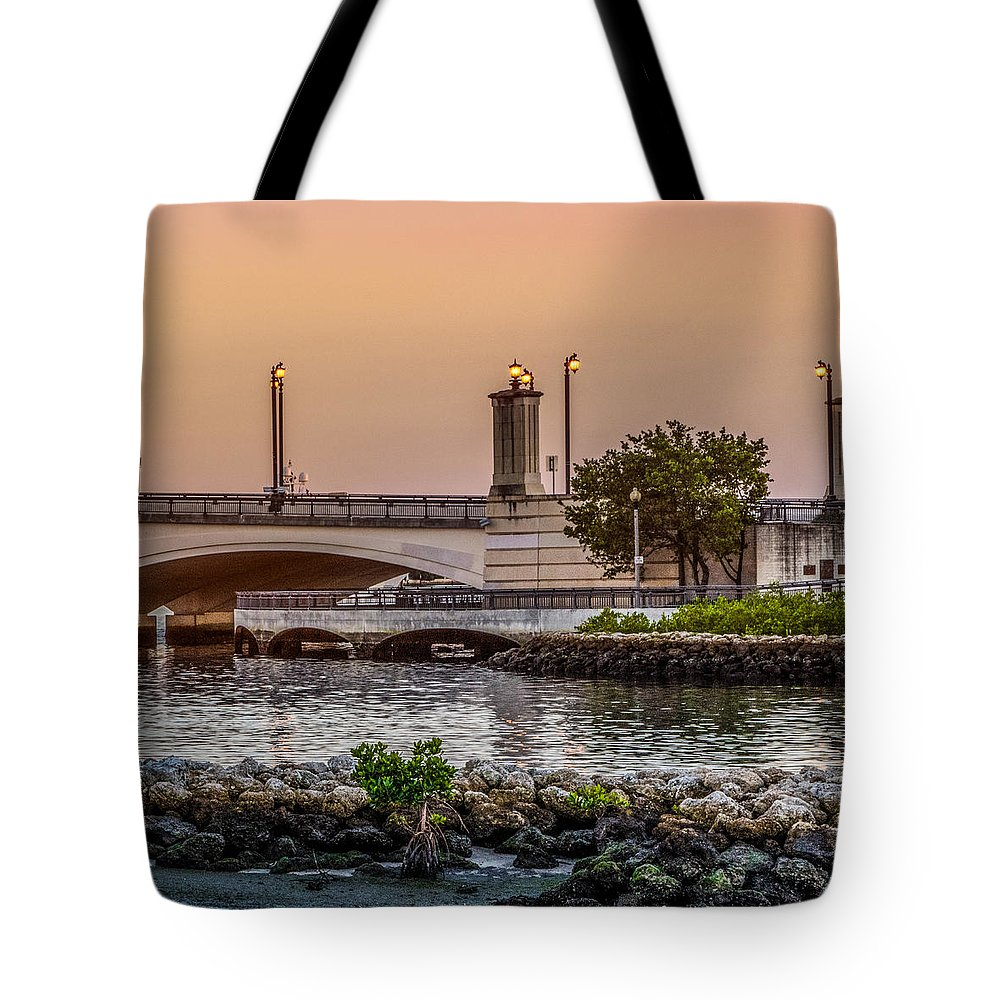 Boats Tote Bag featuring the photograph Flagler Bridge In The Evening Iv by Debra and Dave Vanderlaan