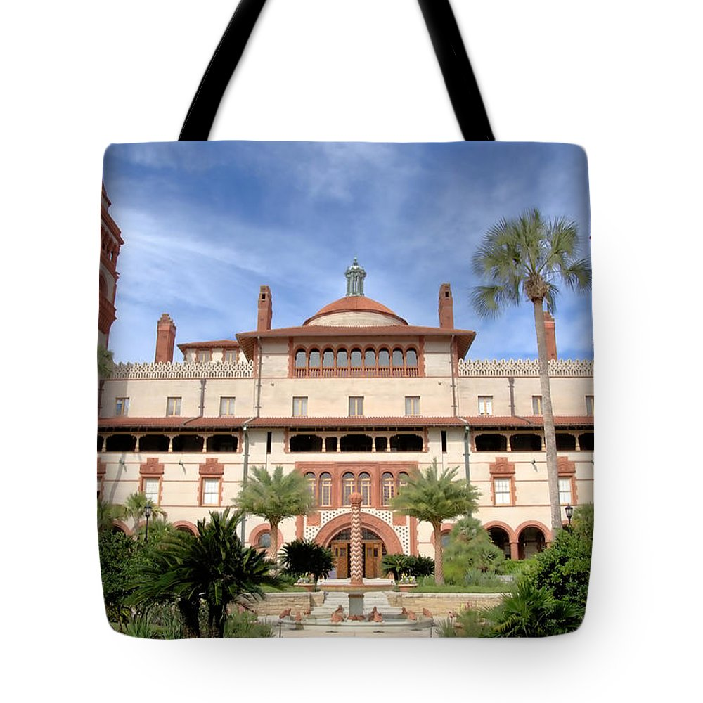 Colleges Tote Bag featuring the photograph Flagler College Court Yard by Larry Jones