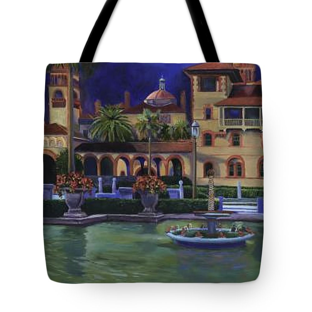 St. Augustine\'s Flagler College Campus Tote Bag featuring the painting Flagler College II by Christine Cousart