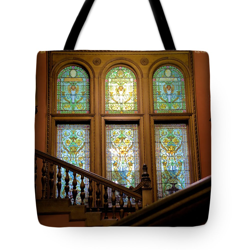 Colleges Tote Bag featuring the photograph Flagler College Stained Glass by Larry Jones