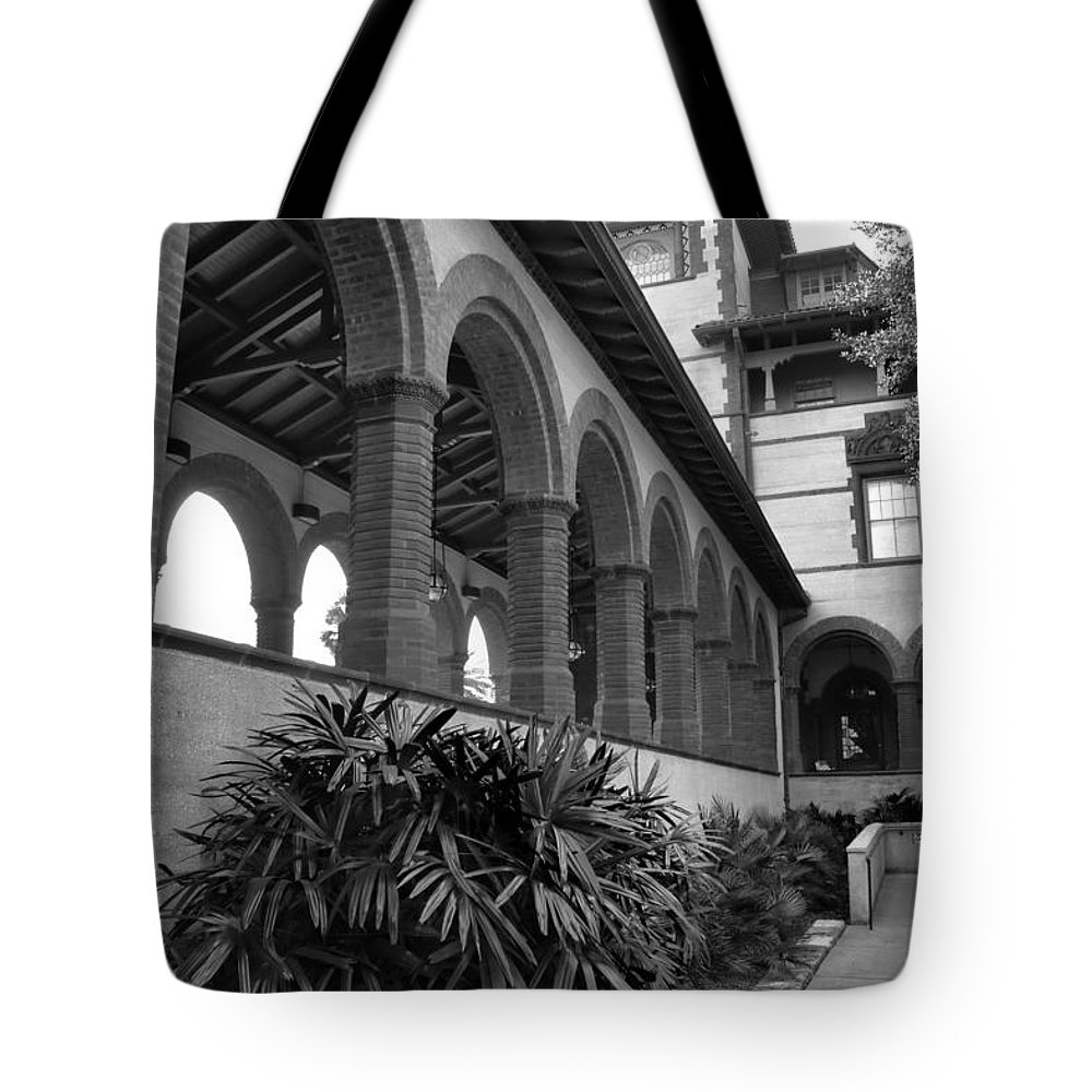 Colleges Tote Bag featuring the photograph Flagler College Walkway by Larry Jones