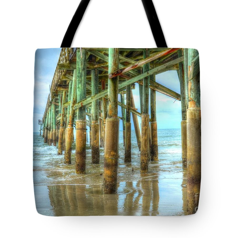 Beach Tote Bag featuring the photograph Flagler Pier by Debbi Granruth