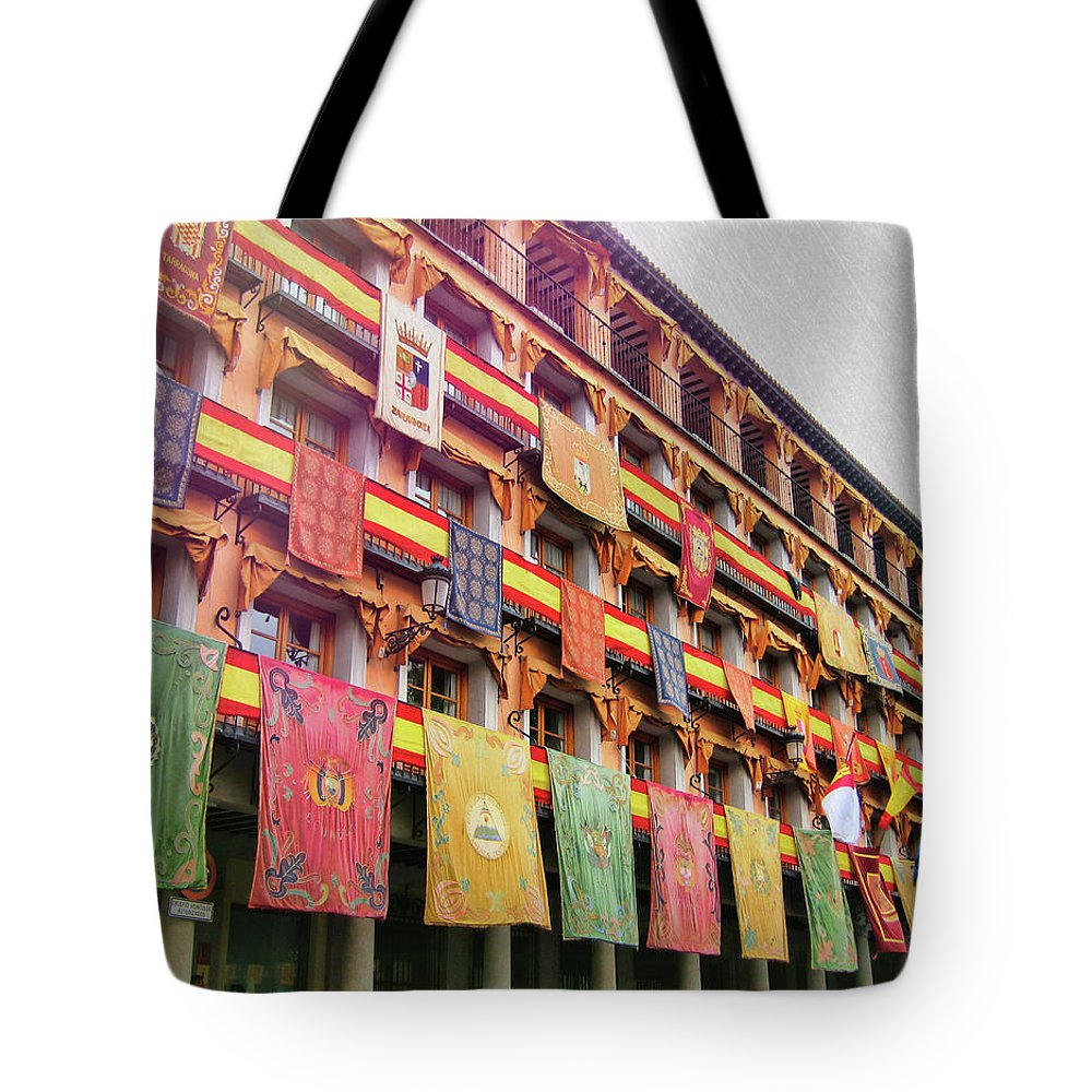 Flag Tote Bag featuring the photograph Spanish Flags by JAMART Photography