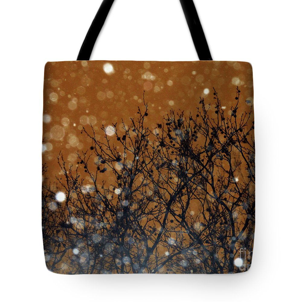 Snowflakes Tote Bag featuring the photograph Flakes In The Dark by Onedayoneimage Photography