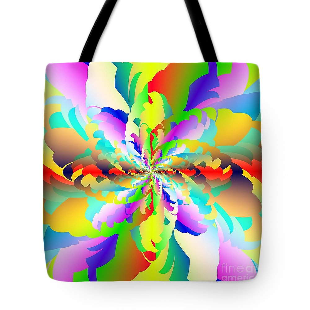 Flamboyant Fractal Fire Flower Tote Bag featuring the digital art Flamboyant Fractal Fire Flower by Michael Skinner